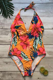 One Piece Boho Low Back Floral Printed Deep V Halter Swimsuit SO415