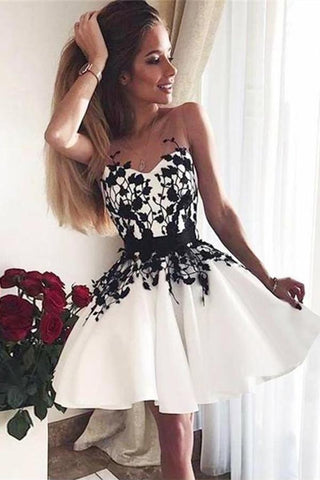 A-Line V-Neck White Sweetheart Satin Above Knee Homecoming Dress with Black Appliques PH663