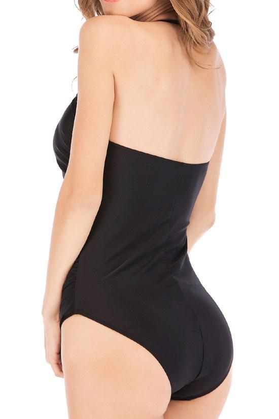 One Piece Buttons Front Ruched Bandeau Halter Swimsuit SO499