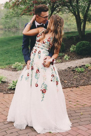 A Line Deep V Neck Ivory Lace Backless Embroidery Party Dresses, Printed Prom Dress OM104