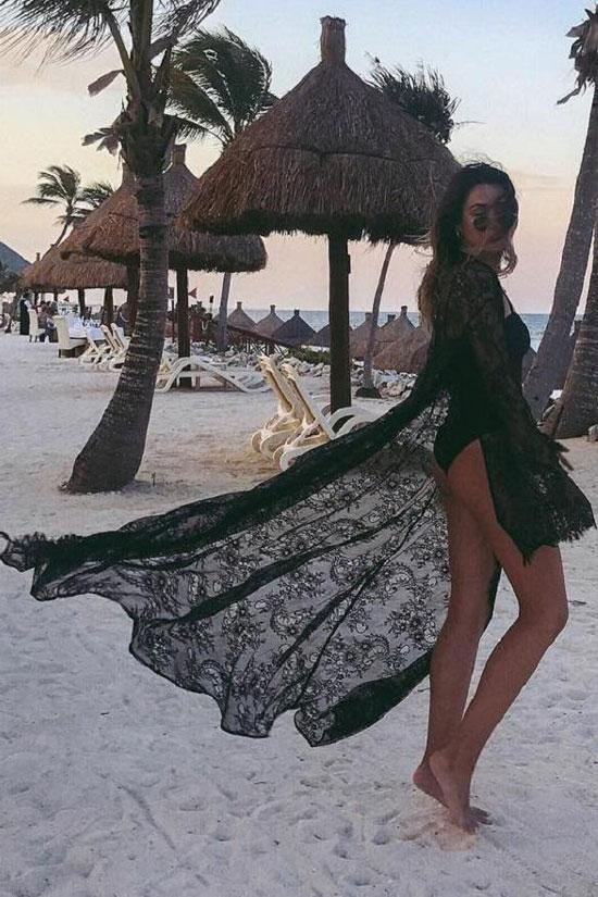 Cover Up Fairytale Lace Long Sleeve Maxi Sheer BW010