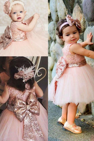 Cute Lace Pink V Back Flower Girl Dress with Bowknot, Round Neck Child Dress OM73