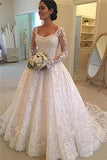 A Line Lace Applique Long Sleeve Sweetheart Covered Button Wedding Dresses uk PW331