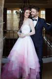 Chic A Line Sweetheart High Low Ombre Organza Long Sleeve V Back Wedding Dress PW324