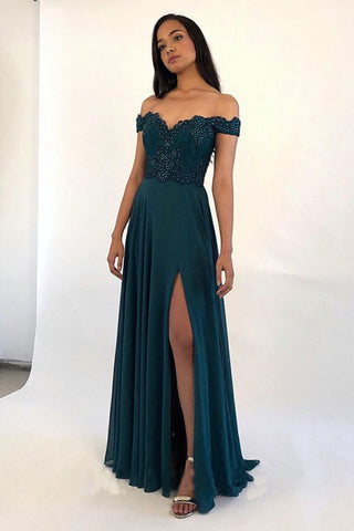 Charming Off the Shoulder Dark Green Split Chiffon Sweetheart Prom Dresses with Beads OM115