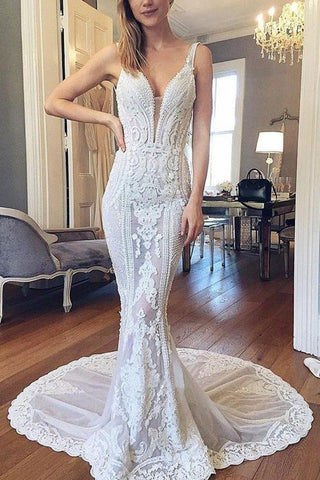 Princess Mermaid Lace Ivory V Neck Wedding Dresses, Backless Beach Wedding Dresses OM65
