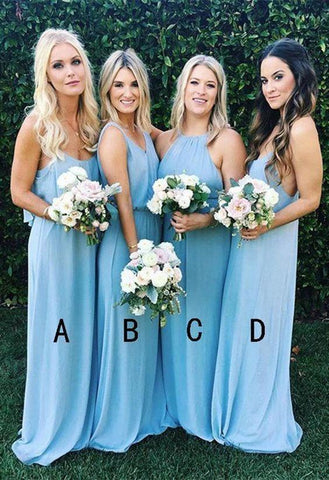 Simple A Line Sky Blue Mismatched Bridesmaid Dresses Chiffon Long Prom Dresses OM46