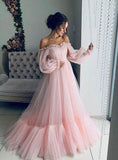 Ball Gown Blue Tulle Prom Dresses, Long Sleeve Off the Shoulder Quinceanera Dresses PW930
