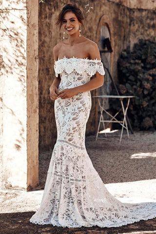 Charming Off the Shoulder Lace Mermaid Wedding Dress, Cheap Bridal Dress OM26