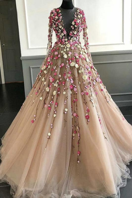 Elegant Floral Scoop Lace Long Sleeve Pink Prom Dresses with Tulle, Long Evening Dresses PW990
