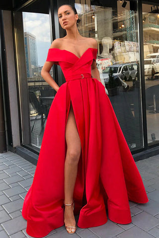 Simple Off the Shoulder Red Satin V Neck Prom Dresses, High Slit Party Dresses with Pockets OM41