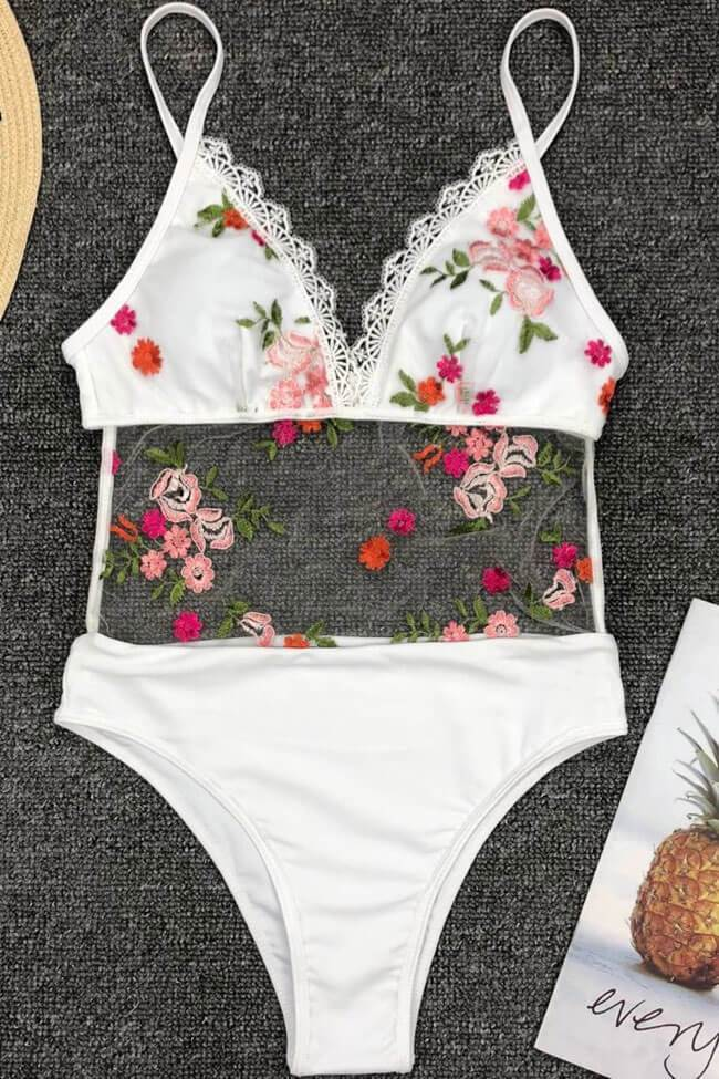 One Piece High Leg Low Back Floral Embroidery Splicing Mesh Swimsuit SO483