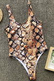 One Piece High Leg Snake Scoop Neck Thong Swimsuit SO418