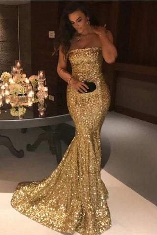 Sexy Mermaid Sequins Strapless Long Evening Dresses, Simple Prom Dresses OM96
