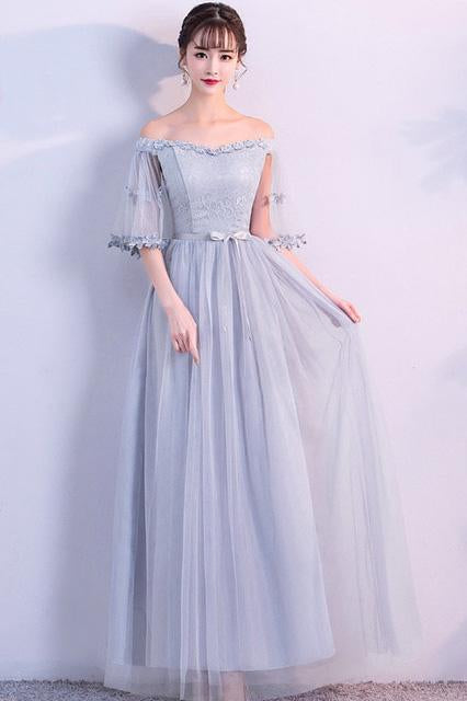 Off the Shoulder Blue Short Sleeve Tulle Bridesmaid Dresses, Floor Length Wedding Party Dress PW917
