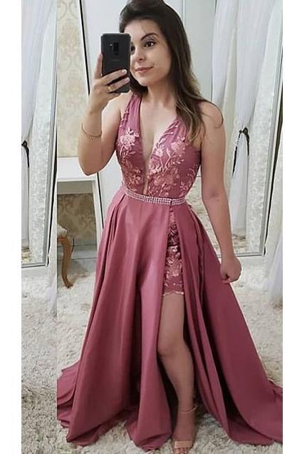Elegant Appliques Satin Prom Dress Sleeveless Deep V Neck Long Formal Dress uk PW383