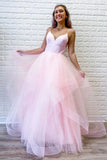 Unique Pink Tulle Ruffles Spaghetti Straps V Neck Prom Dresses, Long Formal Dresses OM124