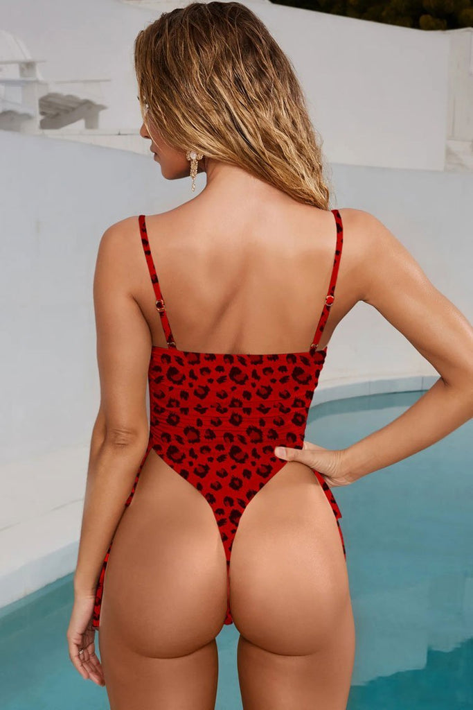 One Piece Leopard Cutout High Leg Drawstring Thong Swimsuit SO407