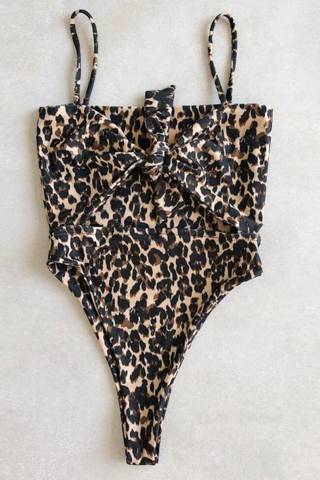 One Piece Leopard Low Back Cutout High Leg Knotted Front Swimsuit SO495