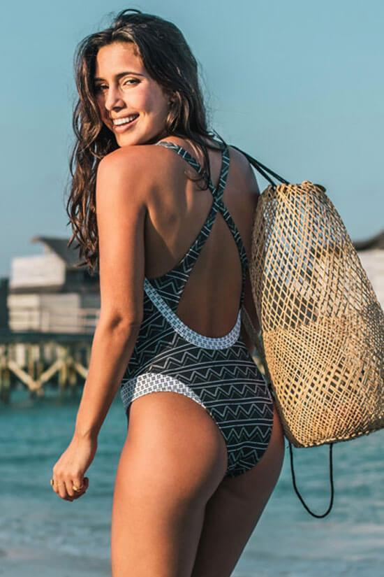 One Piece Low Back Knotted Front Zigzag Printed Swimsuit SO355
