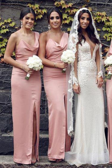 Sexy Mermaid Slit Backless Bridesmaid Dress, Long Spaghetti Straps Bridesmaid Dress PW916