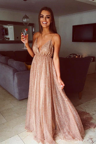 Sparkly A Line Spaghetti Straps Champagne V Neck Prom Dresses with Sequins OM34