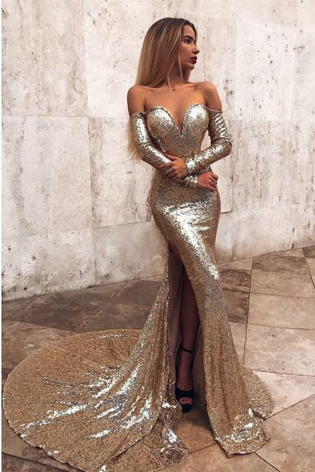 Sexy Mermaid Off the Shoulder Sequins Long Sleeves Prom Evening Dress with Split OM81