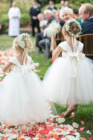 Cute A-line White Long Tulle Flower Girl Dress with Bowknot, Baby Dresses OM72