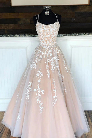 Unique Spaghetti Straps A Line Lace Appliques Tulle Lace up Pink Prom Dresses OM105