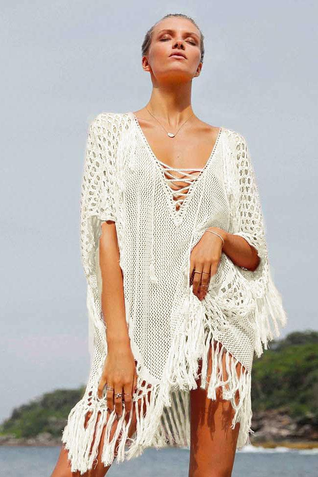 Cover Up Tassel Hollow Out Deep V Crochet BW012