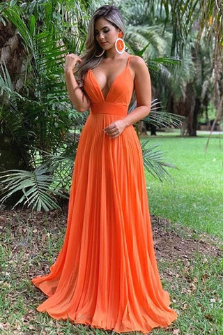 A Line Spaghetti Straps Orange Party Dresses, Sexy Deep V Neck Chiffon Prom Dresses OM121