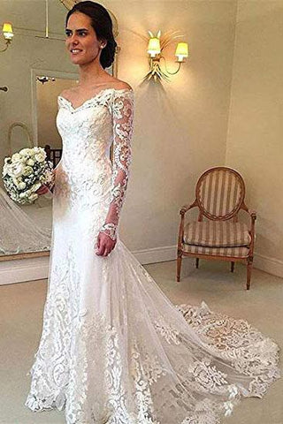 Off the Shoulder Lace Long Sleeve Mermaid V Neck Covered Button Wedding Dresses PW330