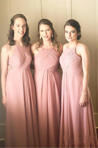 Halter A Line Chiffon Simple Bridesmaid Dresses Sleeveless Cheap Prom Dresses OM40