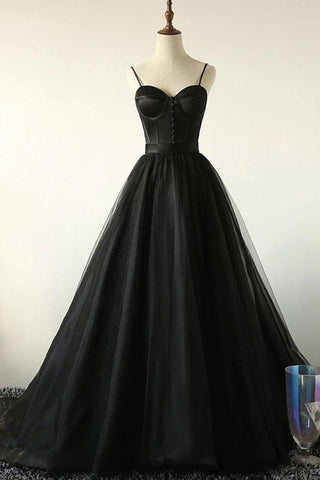 Elegant A Line Black Spaghetti Straps Sweetheart Tulle Evening Dresses with Lace up OM89
