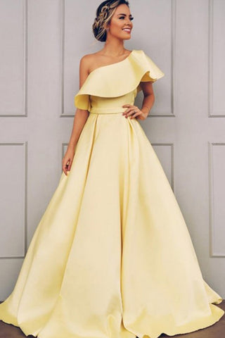 Elegant A Line One Shoulder Long Satin Prom Dresses Daffodil Party Dress with Ruffles OM114