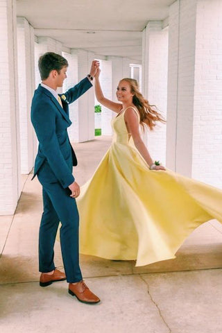 Long A Line Yellow Satin Prom Dresses with Pockets, Simple Formal Dresses OM98