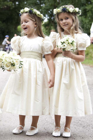 Vintage Juliet Sleeves Tea Length Round Neck Flower Girl Dresses, Little Dresses OM74