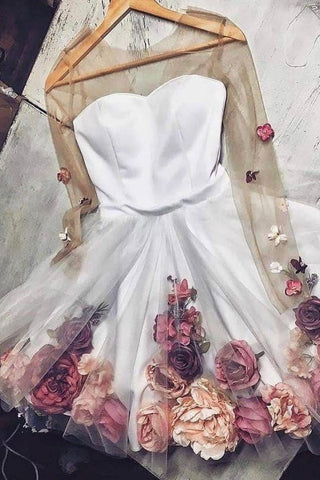 White Tulle Applique Short Prom Dress, Long Sleeve Homecoming Dresses with Flowers PW827
