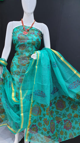 Light Turquoise Brush Print Kota Doriya unstitched suits With Kota Doriya Dupatta (Without Bottom )