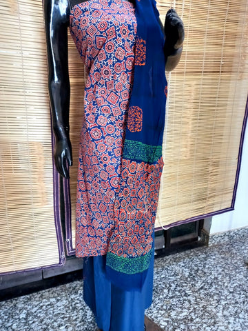 Traditional Azrak Hand Block Unsitiched suit With Chiffon Dupata
