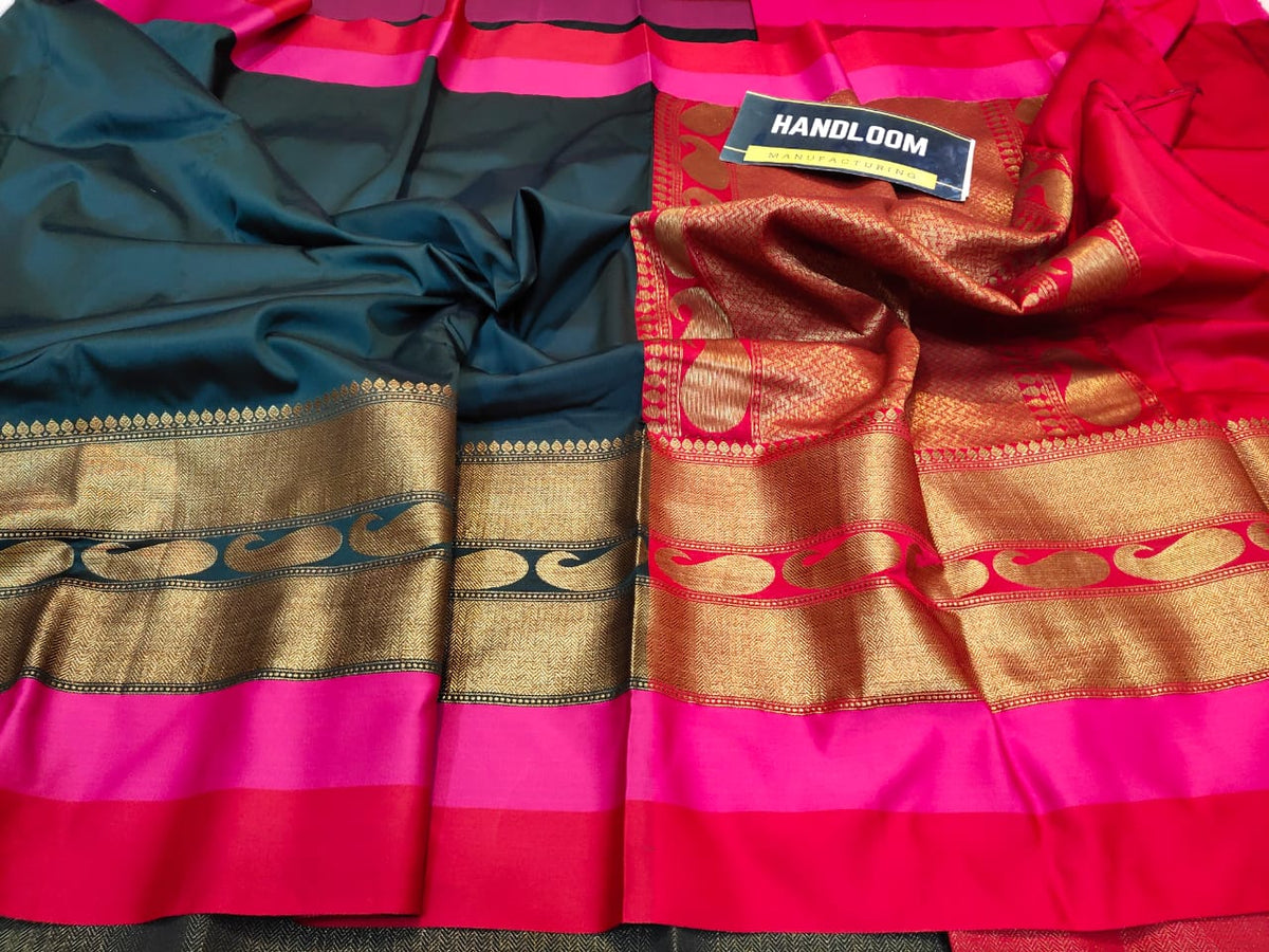 Maheshwari blends silk with zari weaving all over  With blouse border  Rich zari weaved pallu and blouse  ( length- 6.3 meter )