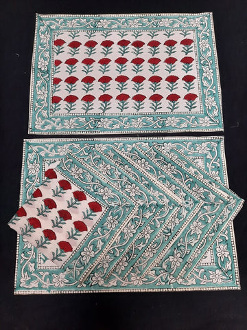Red Flower Print Hand Block Pure Cotton Dining Table Mat and Napkin Set