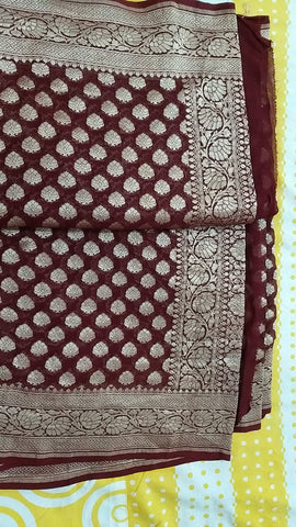 Exclusive Pure Banarasi chiffon  Khaddi Saree with rich pure gold zari buti , with  traditional banarasi style border and pallu  ( length- 6.3 meter )