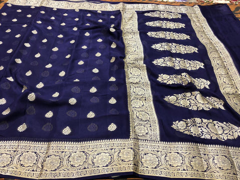 Pure Banarasi Chiffon Khaddi Saree with banarasi style border and pallu  ( length- 6.3 meter )