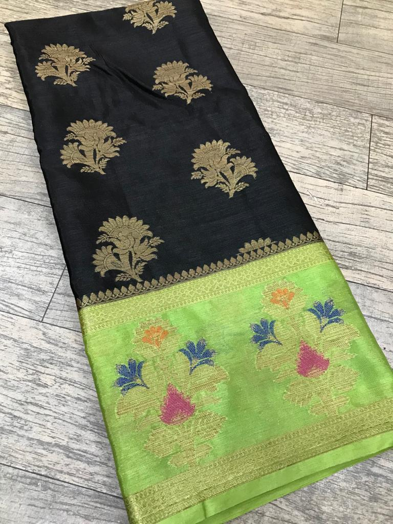 Semi Chiffon Silk Banarasi Saree  ( length- 6.3 meter )