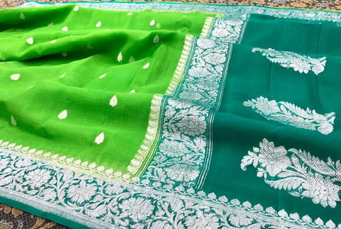 Pure Hand loom  Khaddi Chiffon Georgette Saree with Silver Zari Weaving blouse  ( length- 6.3 meter )