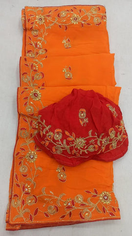 Pure Chinon Fabric Saree , kat dana,/resham & fancy material Handwork/ Contrast Blouse