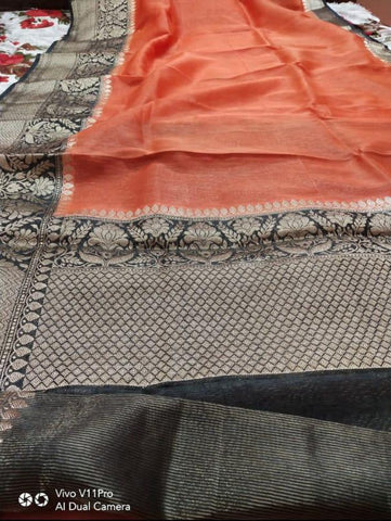 Pure Linen Border Saree with contrast Blouse ( length- 6.3 meter )