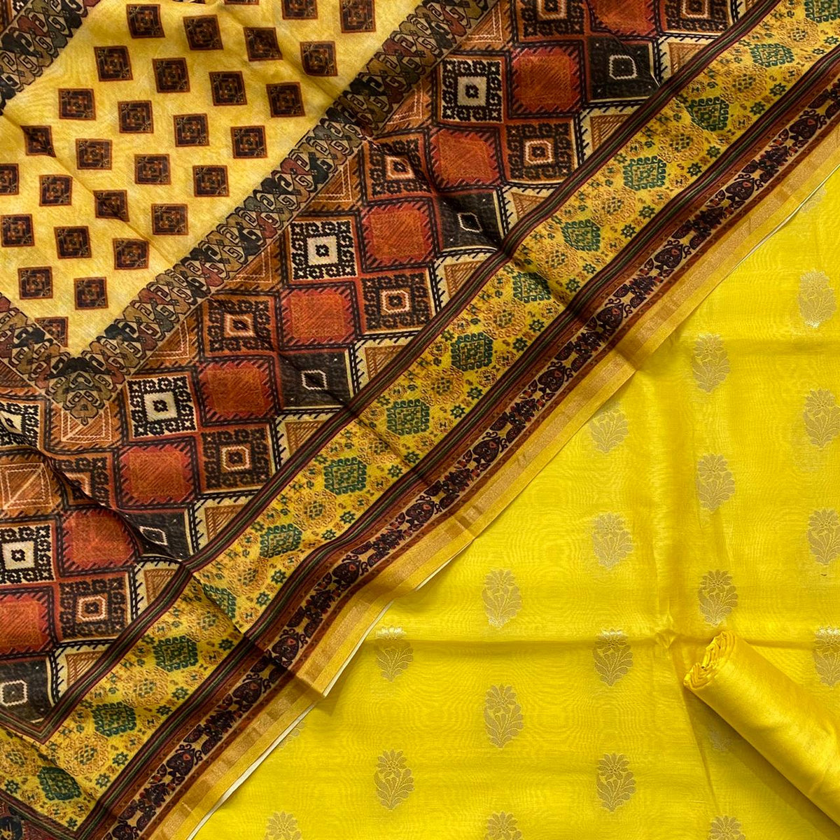 Pure Banarasi Cotton Silk Lurex Alfi Weaved Unstitched Suit