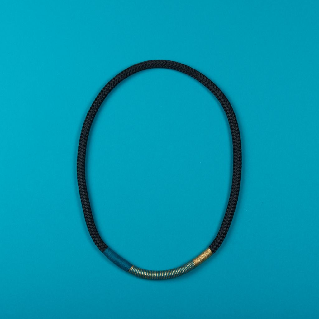 Black with Teal Summer Ndebele Necklace